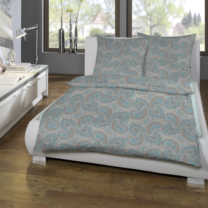 estella bettw sche paisley interlock jersey mint beige. Black Bedroom Furniture Sets. Home Design Ideas